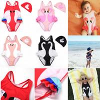Wholesale Parrot Clothes - Girl Bikini INS Flamingo Swimwear Swan Parrot Swimsuits Cartoon Printed Bathing Suits Swimming Caps Kids Beachwear Baby Clothing Sets AAA445
