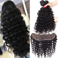 Wholesale 14 human hair weaves for sale - Group buy 8A Remy Brazilian Human Hair Bundles With Closure Body Wave Straight Loose Wave Kinky Curly Deep Wave Unprocessed Virgin Hair