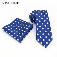 Wholesale Silk Neck Ties Xl - T061 Men`s Classic Tie 100% Silk Jacquard Woven 8CM Blue White Polka Dot Necktie Hanky Sets For Man Wedding Business Party