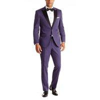 черные свадебные костюмы для женихов оптовых-New Arrival Purple Grooms Tuxedos Black Satin Peaked Lapel Wedding Suits For Men Two Piece Mens Suit Two Button Groomsmen Suit