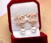 Wholesale Pearl Drop Earrings White Gold - Classic Brand Designer Pearl Drop Dangle Letters Ear Stud Clip Double Layer Earrings Wedding Prom Jewelry Gift Accessory