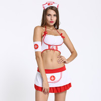 Wholesale summer nurses uniforms resale online - Sexy Nurse Cosplay Lingerie Uniform nightclub party dress set crop top mini dress headwear miniskirt sexy costumes babydoll chemises