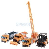 ingrosso gru per camion-Diecast Truck Vehicle Modello di auto Giocattoli Engineering Set Bulldozer Truck Forklift Crane Kid Boy Xmas Gift Collectible
