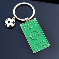 Wholesale mini court - Metal Football Keychains Mini Football Court Keyrings For Fans Party Favor Gift Supplies Free Shipping QW7621