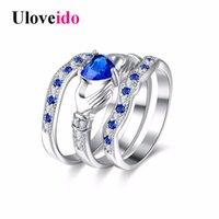 kalp gelin seti toptan satış-Tüm saleUloveido Nişan 3 Parça Set Yüzükler Kadınlar için Kübik Zirkonya Gelin Mavi Kalp Aşk Promise Ring Kadın Düğün Takı HR314
