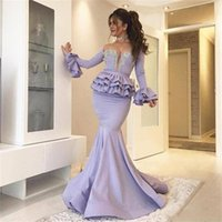 Wholesale necklace ivory resale online - 2019 Lavender Mermaid Prom Dresses Peplum Tireed Beads Crystals Long Sleeves Long Satin Sheer Party Gowns Without Necklace evening gowns