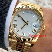 Wholesale geneva white rose gold watch - Rose Gold Men Geneva Watch Green Roman Dial AAA Womens Luxury Brand Automatic Daydate Women's Fashion Mens Reloj Watches WristWatches 228238