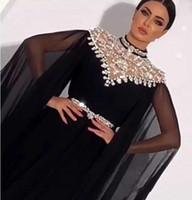 плиссированное платье длиной до пола оптовых-Высокая Шея Кристалл Шифон Черный Вечерние Платья С Длинными Рукавами Складки Длиной До Пола Саудовский Арабский Дубай Вечерние Платья Вечерние Платья