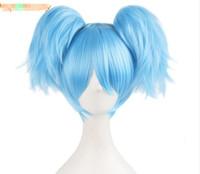 ingrosso parrucche blu cielo-30cm Sky Blue verde Parrucche corte diritte due a forma di Artiglio coda di cavallo parrucca cosplay capelli sintetici resistenti al calore peruca