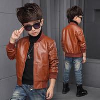vestes pu pour enfants achat en gros de-1- 8y Chaud Automne Hiver Bébé Bébés Enfants Section Mince Vestes Enfants Solide Plein PU Faux cuir Manteaux Survêtement Vêtements