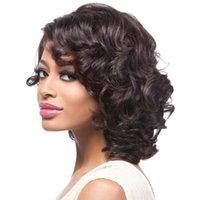 peluca de longitud media marrón oscuro al por mayor-Moda rizado de calor de la peluca de color marrón oscuro Longitud medio sintético afro muchacha de las mujeres del partido del pelo peluca llena resistente