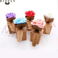 décoration de mariage achat en gros de-Rose Fleur Candy Boxes Kraft DIY Vintage papier Sac Cadeau avec rose Fleur Chocolat Emballage Partie De Mariage Décoration Faveurs