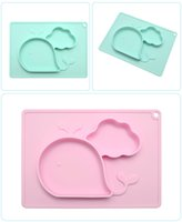 Wholesale whale accessories - Kawaii Crab Whale Kids Silicone Food Tray Dishes Lunch Box Dinner Plates set Household Supplies Kitchen Accessories Travel Tools