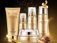 ingrosso sbiancante set faccia-DHL libero Bioaqua Gold Lumaca viso Set per la cura della pelle Idratante Sbiancante Crema per il viso Toner Essence Latte Detergente