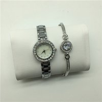 Wholesale Girls Watch Sets - Fashion Top Brand 2 Sets Women Luxury Watch Bracelet With Gift box Dresses Wristwatches for lady girl Water Resistant Montre Femme