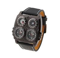 группа oulm оптовых-OULM Марка приключения Мужские кварцевые военные часы с двойной Movt компас термометр функция Кожаный ремешок наручные мужские часы