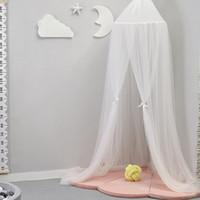 bebek odası yatak takımı toptan satış-Yuvarlak Bebek Yatağı Cibinlik Kubbe Asılı Yatak Canopy Cibinlik Perde Hamak Bebek Çocuk Çocuk odası dekorasyon Için