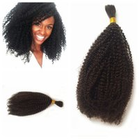 ingrosso i capelli umani nocivi di massa-1 pz Indiano Afro Crespi Capelli Ricci Bulk Spargimento Gratuito 100 Capelli Umani Bulk Per Intrecciare Senza Tramie Capelli LaurieJ