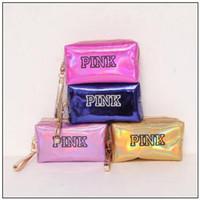 Wholesale large leather makeup bag - 11 Colors PINK Laser Cosmetic Bag Large Capacity Waterproof Makeup Bags Women Laser Leather Cosmetics Organizer CCA9715 30pcs