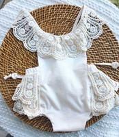 roupas de renda para crianças venda por atacado-INS recém-chegados verão bebê crianças roupas de escalada romper 100% algodão rendas romper menina crianças macacão macacão sem encosto 0-2 T