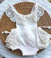 yeni dantel kızları yaz toptan satış-INS yeni gelenler yaz bebek çocuk giyim tırmanma romper% 100% pamuk dantel romper kız çocuklar romper çocuklar backless tulum 0-2 T