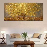 peintures au couteau achat en gros de-Grand couteau peint à la main arbres peinture à l'huile sur toile Palette de peintures or jaune moderne abstraite mur Art Photos Home Decor cadeaux
