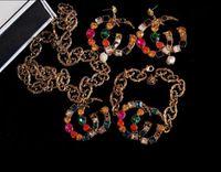 ingrosso spilla d'ago-Famous brand designer retrò spilla di cristallo orecchini retrò lusso collana braccialetto di marca multicolor vestito di strass distintivo ago gioielli acc
