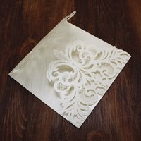 Wholesale bridal shower events - Elegant white wedding invitation envelope flower laser cutting hollow bridal shower birthday event party invitation free ship