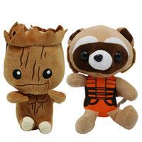 Wholesale christmas trees toys - 23cm Guardians Galaxy Groot Plush Doll Toys Tree People Rocket Raccoon Plush Child Kids Gift Party Favor AAA481