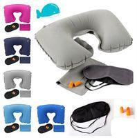 Wholesale Neck Rest Pillow - Travel Set 3PCS U-Shaped Inflatable Travel Pillow Eye Cover Earplugs Neck Rest U Shaped Neck Pillow Air Cushion KKA1781