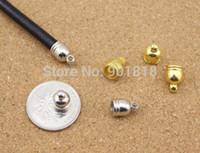 brazaletes de oro de plástico al por mayor-CCB (plástico, no metal) extremos de cordón de cuero redondos 6/7/8/9 / 12mm agujero BraceletBangle extremos tapa 50pcs / lot rodio / oro / bronce F1016