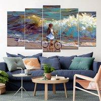 картины маленькие девочки оптовых-Маленькая девочка, наблюдая за морем на пляже бескаркасных картин 5 шт. без рамки Printd на холсте искусства современного дома