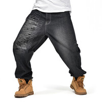 roupas folgadas venda por atacado-Plus Size 30-46 Men preto Baggy Jeans 2018 Carga Denim Calças Para Homens Hip Hop Designer de Marca Calças Jeans Grandes Roupas WS301