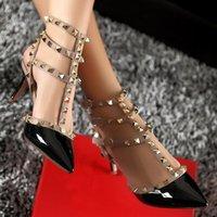 ingrosso scarpe da sposa formato 43-Donne di marca pompe scarpe da sposa donna tacchi alti moda nuda cinturini alla caviglia rivetti scarpe sexy sandali piatti scarpe da sposa taglia 34-43