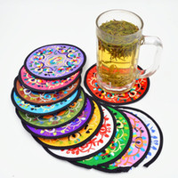Wholesale cups art online - Coaster For Small Embroidery Fabric Art Cup Pad Heat Insulation Characteristic Polychromatic Technology Tableware Mat zj V