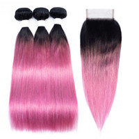 Wholesale straight human hair colored for sale - T B Pink Red Bundles with Closure Ombre Straight Human Hair Colored Brazilian Hair Extension Bundles with Lace Closure