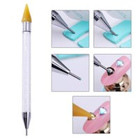 Wholesale nail art tools - Nail Art Jewelry Double headed Point Rhinestone Crayon Point Drilling Tools Drill Point Pen Nail Art Tool