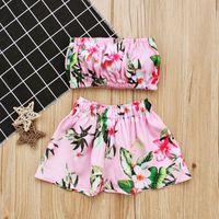 tubo de natación bebés al por mayor-Nueva Niñas trajes de baño florales 2 unid conjuntos boob tube top + falda de flores 1-3T bebé niños pequeños playa traje de baño envío gratis