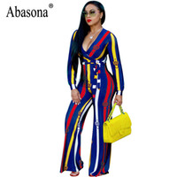 6060f0778d1 Abasona Wide Leg Jumpsuits Women Long Sleeve Printed Overalls Sexy v Neck  Evening Party Sashes Striped Rompers Jumpsuit Female