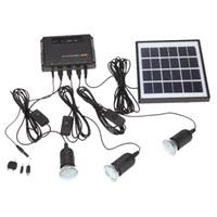 ingrosso pannelli solari neri-4W pannello solare 3 LED Lampada USB 5V caricatore del telefono mobile Kit di sistema per casa giardino Pathway Stair Outdoor Camping Pesca nero