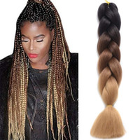 Wholesale ombre braiding hair box braids resale online - Ombre Xpression Braiding Hair Two Tone Jumbo Braids Synthetic Hair Extensions Inches Box Braids Kanekalon Braiding Hair