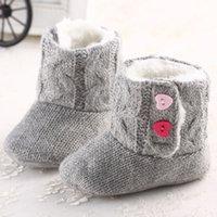 bebek tığ işi kar pamuk çizmeleri toptan satış-Bebek Kız Kış Kar Botları Tığ Örgü Polar Bebek ayakkabı Toddler Yün bebek Sıcak Yumuşak Sole İlk Yürüyüşe Pamuk Alt Ayakkabı 5 çift / 10 adet