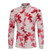 Wholesale men dress clothing - Wholesale-2017 Autumn Spring Men Fashion Floral Long Sleeve Shirt Plus Size Casual Slim Fit Multi Colors Mens Dress Shirt Male Clothes 3XL