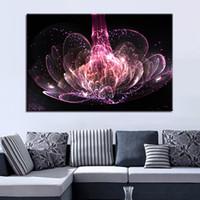 ingrosso dipinti astratti acqua-Tela HD Poster Poster Wall Art Frame 1 Pezzo Ricchezza e lusso Viola Water Lily Fiori Dipinti Quadri astratti Home Decor
