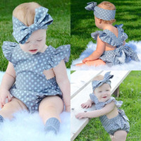 Wholesale newborn cotton butterfly - 2Pcs Set Polka Dot Newborn Baby Girls Clothes Butterfly Sleeve Romper Jumpsuit Sunsuit Outfits