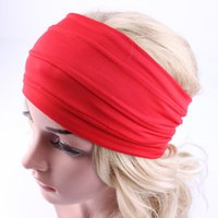 Wholesale wide headbands for yoga for sale - Group buy Solid Color Wrinkle Head Band Wide Yoga Sport Headband Hairband Wrap Fashion Jewelry Gift for Women Drop Ship