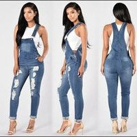 Wholesale Trousers Suspenders Women - Hole fashion conjoined suspenders loose elastic jean foot trousers slacks