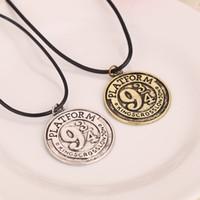 madeni para takılar toptan satış-Harry Kitap Tren Platformu 934 Kolye Antik gümüş bronz Para Kolye Yuvarlak halat zincir Kazınmış charm kolye Potter Takı