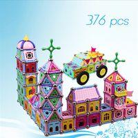 Wholesale plastic magnetic blocks for kids resale online - Magnetic building blocks kids educational puzzle toys children palace construction building brick toys christmas gifts for kids