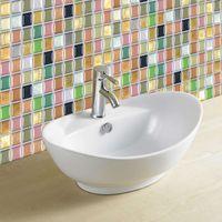 Wholesale renovation kitchen - 3D Glass Like Mosaic Waterproof Stickers For Bathroom Kitchen Backsplash Self Adhesive Home Wall Renovation Tile Brick Wallpaper